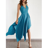 Backless V-neck Sleeveless Irregular Hem Back Cross Maxi Dress