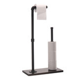 Wood Paper Towel Holder Stand Free Standing Vintage Toilet Bathroom Paper Towel Roll Hold Industrial Pipe Fitting