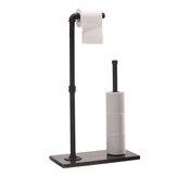 Holz Papier Handtuchhalter Stand freistehend Vintage Toilette Badezimmer Papier Handtuch Roll Hold Industrielle Rohrverschraubung