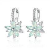 Mode Blume Zirkonia Silber Frauen Ohrringe