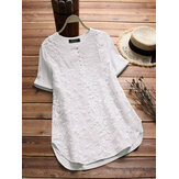 S-5XL Women Cotton Patchwork Loose Short Sleeve Blouse