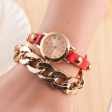 Fashion Leather Winding Bracelet Quartz Watch