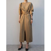 Elegant Solid Color Cross-lace Design Split Hem Long Sleeve Maxi Dress