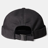 Unisex Solid Color Automatic Buckle Skull Cap