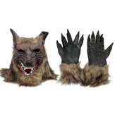 1/2 STKS Latex Rubber Wolf Hoofd Haarmasker Weerwolf Handschoenen Party Scary Halloween Cosplay
