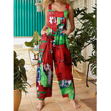 Casual Sleeveless Straps Button Floral Print Pocket Jumpsuits For Women