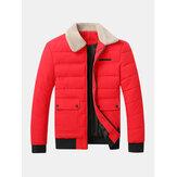 Gesteppte Sherpa-Reverskragen mit Reißverschluss vorne und dicker Jacke mit Pattentasche