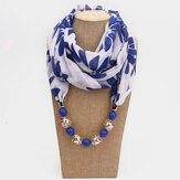 Bohemian Printed Chiffon Multi-layer Necklace Handmade Beaded Tassel Pendant Scarf Necklace