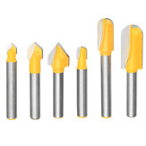 3pcs 1/4 Inch Shank Lettering and Sign Making V-Groove or Round Nose Router Bit Set