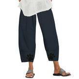 Pantaloni lunghi da donna Harem Pantaloni in cotone estivo comodi elastici in vita Hippie Party Beach pantaloni lunghi