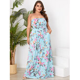 Plus Size Floral Print Kantung Samping Tube Top Tanpa Lengan Holiday Maxi Dress
