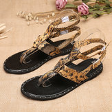 Women  Bohemian Serpentine Clip Toe Flat Sandals