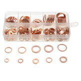 200pcs  M5-M14 Copper Washer Gasket Set Flat Ring Seal Assortment Kit With Box