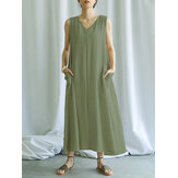 Women Casual Solid Color V-neck Sleeveless Side Pockets Loose Maxi Dress