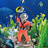 Aquarium Decor Hunter Treasure Figure Action Fish Tank ornement Aquarium conception réaliste