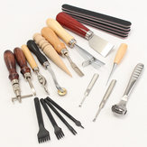 20pcs Wood Handle Leather Craft Tool Kit Leather Hand Sewing Tool Punch Cutter DIY Set