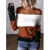 Casual Color Block Stitching Long Sleeves Sweaters Tops For Women