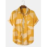 Mens Colorblock Pocket Casual Short Sleeve Shirts