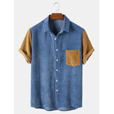Mens Corduroy Patchwork Turn Down Collar Short Sleeve Shirts