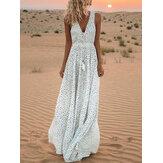 Maxi-jurk met V-hals en strandjurk voor dames met stippenprint