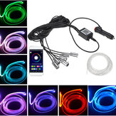 RGB LED Car Interior Fibra ottica Neon EL Wire Strip Light Kit Telefono APP Controllo atmosfera leggera Accendisigari Tipo