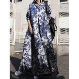 Vestido feminino retrô com colarinho abaixado manga comprida vintage Camisa maxi com bolso