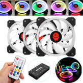 Coolmoon 3PCS 120mm Adjustable RGB LED Light Komputer Kasus PC Cooling Fan dengan Remote