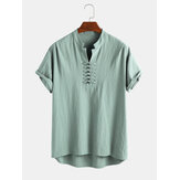 Mens 100% Cotton V Neck Breathable Oriental Button Short Sleeve Casual Henley Shirts