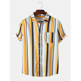 Mens Wide Striped Turn Down Collar Short Sleeve Shirts