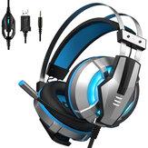 EKSA E800 casque de jeu filaire sur l'oreille casque de jeu bleu jaune Soft oreillettes casque avec rotation micro LED lumière pour PC Gamers