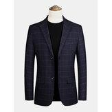 Blazers casuais de manga comprida com bolso único com gola plana xadrez masculina