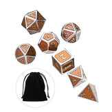 7Pcs Antique Metal Polyhedral Dices With Bag Copper Color For Dungeons Dragons Game