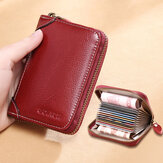 Women 12 Card Slots Rfid Genuine Leather Short Zipper Coin Purse Wallet