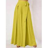 Women Solid Color Bowknot Pleated Loose Casual Wide Leg Pants