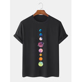 Colorful Planet Print 100% Cotton Breathable Short Sleeve T-Shirts