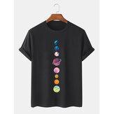 Camisetas de manga corta transpirables 100% algodón de Colorful Planet Print