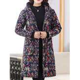 Vintage Women Floral Print Pocket Button Hooded Coats