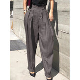 Women Cotton Solid Casual High Waist Pleated Harem Pants With Pocket