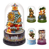 Beautiful Cabins DIY Doll House Miniature Rotating Music Kit With Transparent Cover Musical Core Gift(Meet At The Corner/Snowy Wonderland/Garden Diary/Dream Of Sky/Forest Whim)
