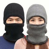 Gebreide muts Sjaal Cap Neck Warmer Winter Siamese Hood Hoeden For Men Dames Skullies Mutsen Fleece