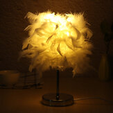 Feather Shade Table Lamp Vintage Elegant Bedside Desk Night Light Lampshade Gift