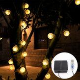 9,5 m USB + alimentado por energía solar 50 LED Cadena de luces al aire libre Patio del camino del jardín Impermeable Decoración Lámpara