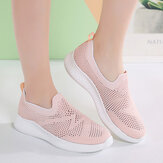 Sneakers slip-on in tessuto mesh traspirante casual da donna