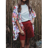Floral Print Three Quarter Sleeve Shawl Jacket Leisure Style Cardigans