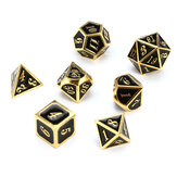 7pcs Zinc Alloy Multisided Dices Set Enamel Embossed Heavy Metal Polyhedral Dice With Bag