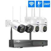 Hiseeu sans fil 8CH 4 pièces 3MP sécurité Audio bidirectionnelle PTZ 5X Zoom numérique extérieur et balle WIFI caméras IP Kit de vidéosurveillance étanche