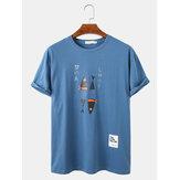 Мужская футболка с изображением рыбок и персонажей Свободные повседневные легкие футболки с круглым вырезом