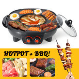 220v Electric Barbecue Hotpot Oven Grill Smokeless Hot Pot Machine Fry BBQ Oven