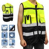 Warnweste Reflektierende Fahrjacke Nachtweste + Taschen