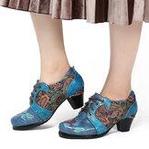 SOCOFY Tela de Folkways con flores en relieve retro Patrón Zapatos de tacón cómodos con cordones